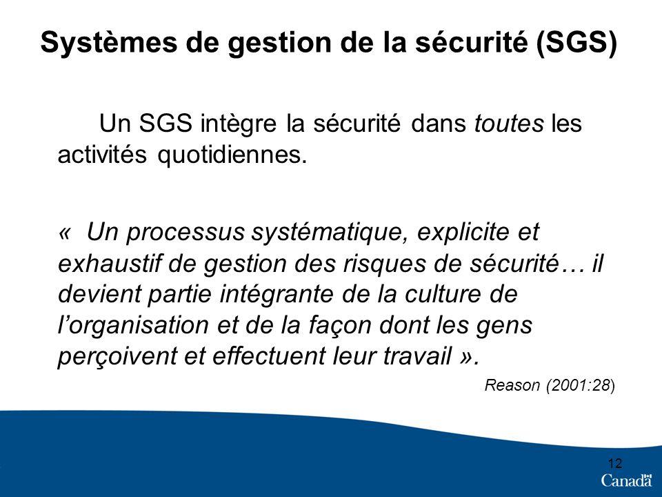 Systèmes de gestion de la sécurité (SGS) Un SGS intègre la sécurité dans toutes les activités quotidiennes. « Un processus systématique, explicite et