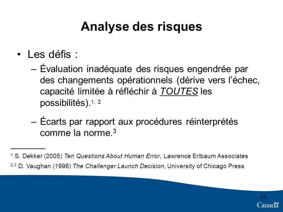 Analyse des risques Les défis : –Évaluation inadéquate des risques engendrée par des changements opérationnels (dérive vers léchec, capacité limitée à