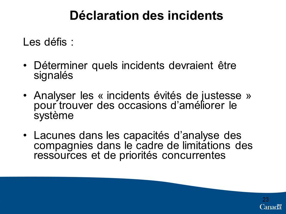 23 Déclaration des incidents Les défis : Déterminer quels incidents devraient être signalés Analyser les « incidents évités de justesse » pour trouver