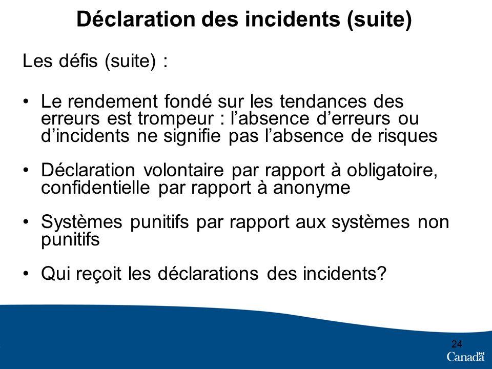 24 Déclaration des incidents (suite) Les défis (suite) : Le rendement fondé sur les tendances des erreurs est trompeur : labsence derreurs ou dinciden