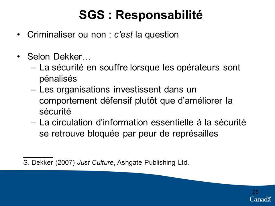 26 SGS : Responsabilité Criminaliser ou non : cest la question Selon Dekker… –La sécurité en souffre lorsque les opérateurs sont pénalisés –Les organi