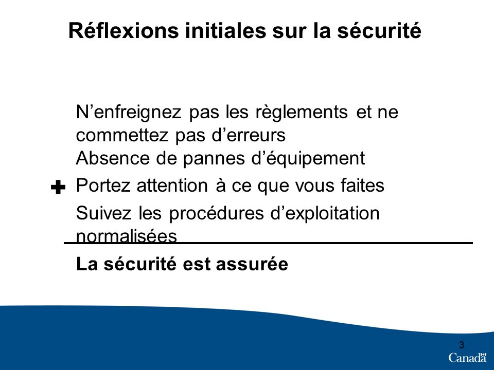3 Réflexions initiales sur la sécurité Nenfreignez pas les règlements et ne commettez pas derreurs Absence de pannes déquipement Portez attention à ce