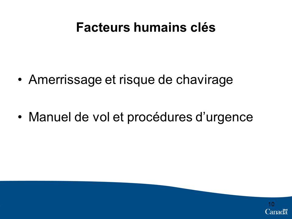 Facteurs humains clés Amerrissage et risque de chavirage Manuel de vol et procédures durgence 10