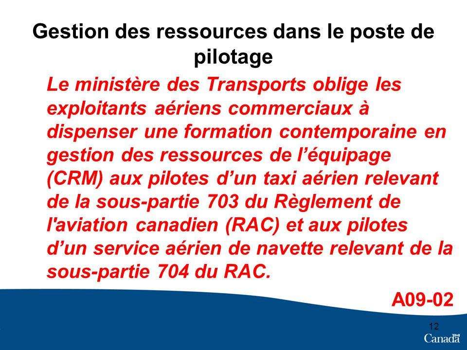 Gestion des ressources dans le poste de pilotage Le ministère des Transports oblige les exploitants aériens commerciaux à dispenser une formation cont