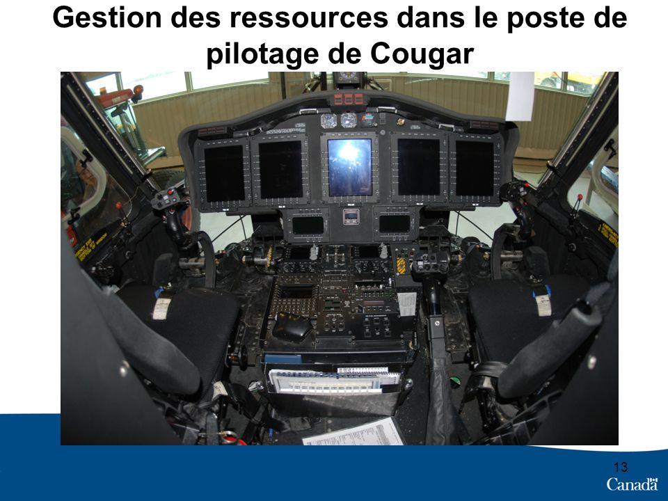 Gestion des ressources dans le poste de pilotage de Cougar 13