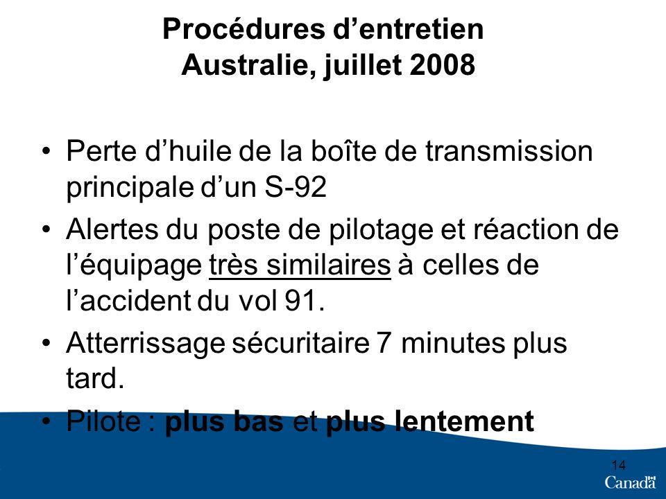 Procédures dentretien Australie, juillet 2008 Perte dhuile de la boîte de transmission principale dun S-92 Alertes du poste de pilotage et réaction de