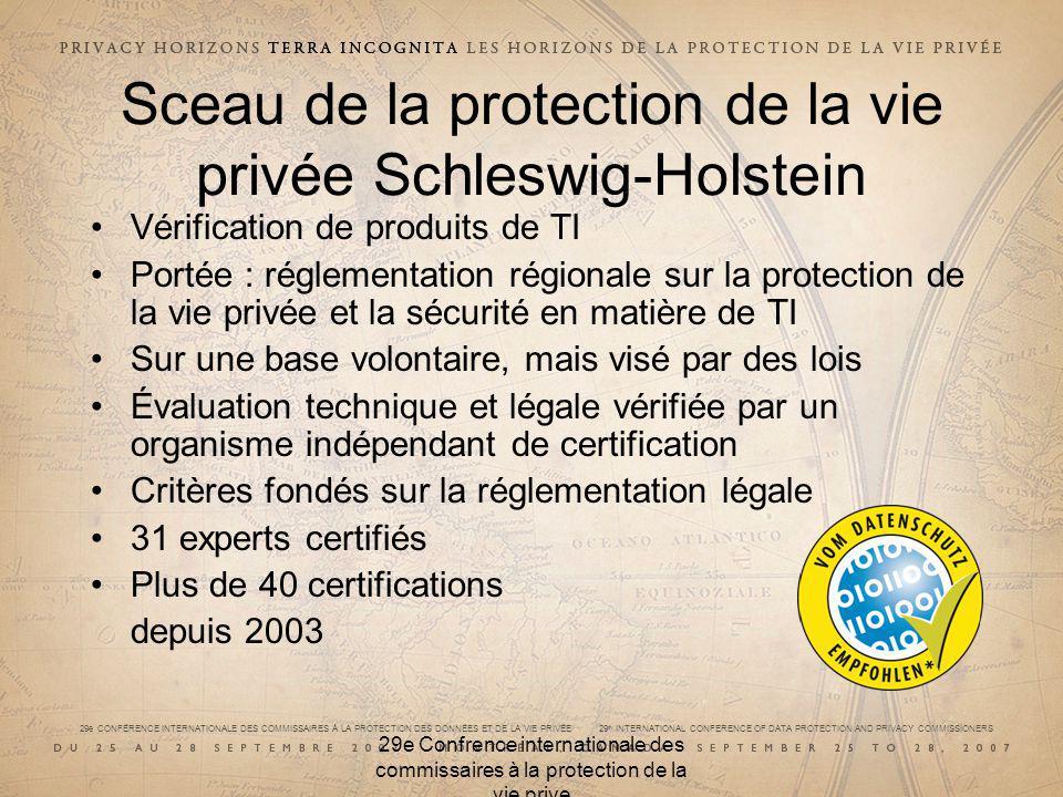 29e CONFÉRENCE INTERNATIONALE DES COMMISSAIRES À LA PROTECTION DES DONNÉES ET DE LA VIE PRIVÉE 29 th INTERNATIONAL CONFERENCE OF DATA PROTECTION AND PRIVACY COMMISSIONERS 29e Confrence internationale des commissaires à la protection de la vie prive Sceau de la protection de la vie privée Schleswig-Holstein Vérification de produits de TI Portée : réglementation régionale sur la protection de la vie privée et la sécurité en matière de TI Sur une base volontaire, mais visé par des lois Évaluation technique et légale vérifiée par un organisme indépendant de certification Critères fondés sur la réglementation légale 31 experts certifiés Plus de 40 certifications depuis 2003