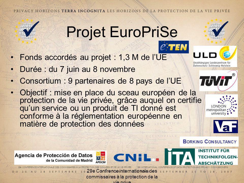 29e CONFÉRENCE INTERNATIONALE DES COMMISSAIRES À LA PROTECTION DES DONNÉES ET DE LA VIE PRIVÉE 29 th INTERNATIONAL CONFERENCE OF DATA PROTECTION AND PRIVACY COMMISSIONERS 29e Confrence internationale des commissaires à la protection de la vie prive Projet EuroPriSe Fonds accordés au projet : 1,3 M de lUE Durée : du 7 juin au 8 novembre Consortium : 9 partenaires de 8 pays de lUE Objectif : mise en place du sceau européen de la protection de la vie privée, grâce auquel on certifie quun service ou un produit de TI donné est conforme à la réglementation européenne en matière de protection des données B ORKING C ONSULTANCY