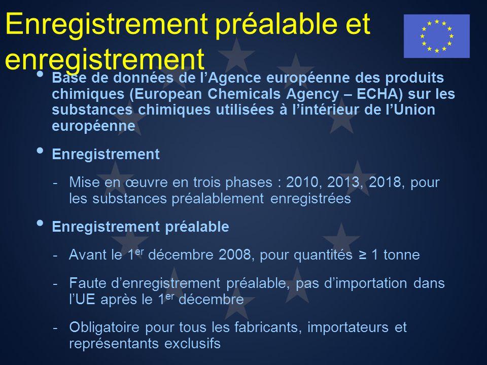 Enregistrement préalable et enregistrement Base de données de lAgence européenne des produits chimiques (European Chemicals Agency – ECHA) sur les sub