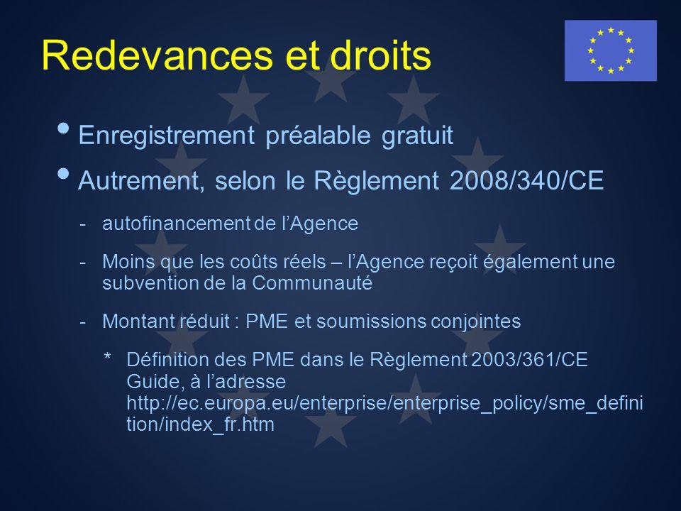 Redevances et droits Enregistrement préalable gratuit Autrement, selon le Règlement 2008/340/CE -autofinancement de lAgence -Moins que les coûts réels
