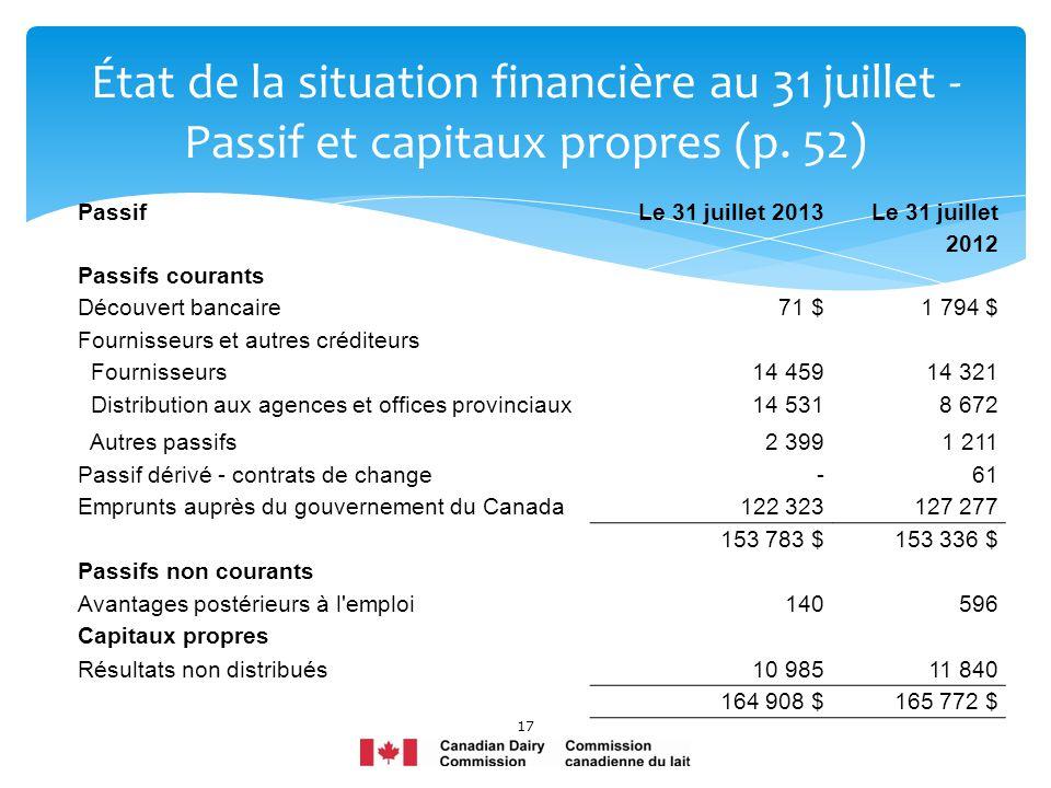 17 État de la situation financière au 31 juillet - Passif et capitaux propres (p. 52) PassifLe 31 juillet 2013 Le 31 juillet 2012 Passifs courants Déc
