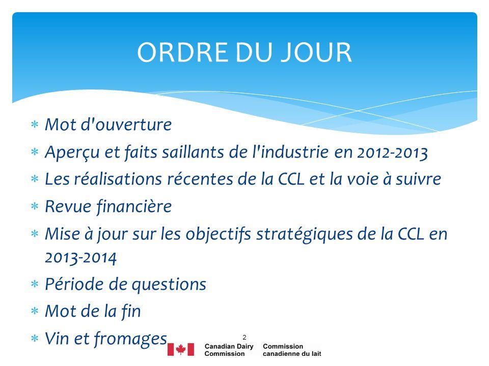 Mot d'ouverture Aperçu et faits saillants de l'industrie en 2012-2013 Les réalisations récentes de la CCL et la voie à suivre Revue financière Mise à