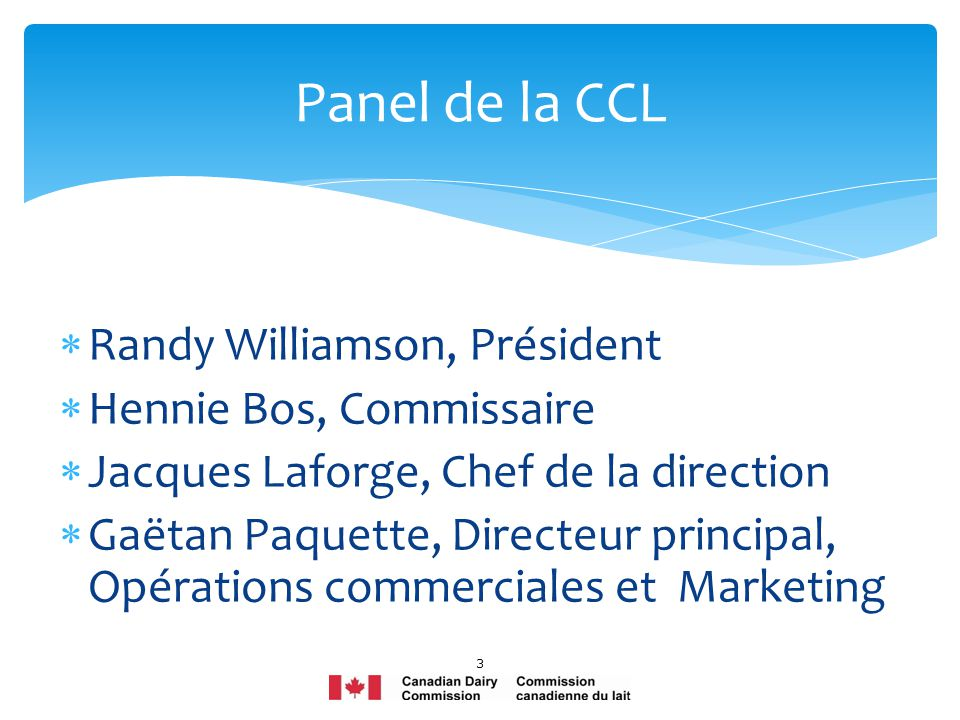 Randy Williamson, Président Hennie Bos, Commissaire Jacques Laforge, Chef de la direction Gaëtan Paquette, Directeur principal, Opérations commerciales et Marketing 3 Panel de la CCL