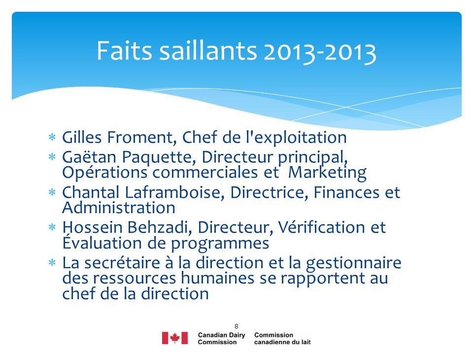 Gilles Froment, Chef de l'exploitation Gaëtan Paquette, Directeur principal, Opérations commerciales et Marketing Chantal Laframboise, Directrice, Fin