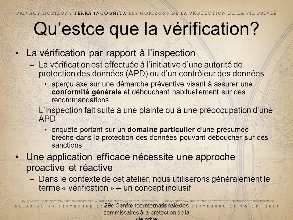 29e CONFÉRENCE INTERNATIONALE DES COMMISSAIRES À LA PROTECTION DES DONNÉES ET DE LA VIE PRIVÉE 29 th INTERNATIONAL CONFERENCE OF DATA PROTECTION AND PRIVACY COMMISSIONERS 29e Confrence internationale des commissaires à la protection de la vie prive Processus de vérification de lEspagne Les inspections sont effectuées par des experts en TI, qui soumettent un rapport factuel au Service juridique Le Service juridique analyse le rapport, entame les procédures de sanction, au besoin, et formule des recommandations en vue dune résolution Le directeur approuve la résolution, qui est susceptible dappel en cour Application préventive : 20 % –Vérifications systématiques – secteurs public et privé –Débouche sur des recommandations, mais également sur une résolution –Inclut des mesures non liées à une vérification : lignes directrices, consultations, publicité Application réactive : 80 % –La loi oblige lAgence espagnole de protection des données à régler toutes les plaintes des citoyens –Les plaintes sont généralement réglées à la suite dune demande de communication volontaire dinformation La vérification peut se faire sur place ou au moyen dune assignation à témoigner –Des amendes pour violation sont fixées selon la nature de linfraction (mineure, grave ou très grave), tel que défini par la loi
