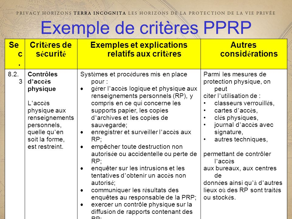 29e CONFÉRENCE INTERNATIONALE DES COMMISSAIRES À LA PROTECTION DES DONNÉES ET DE LA VIE PRIVÉE 29 th INTERNATIONAL CONFERENCE OF DATA PROTECTION AND PRIVACY COMMISSIONERS Exemple de critères PPRP Se c.