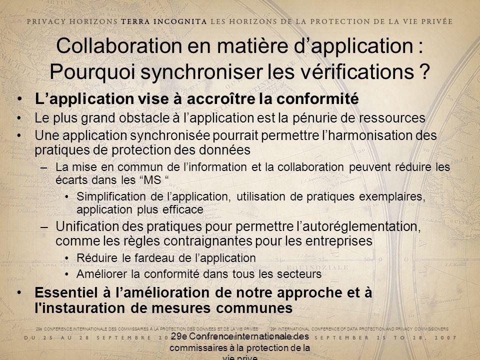 29e CONFÉRENCE INTERNATIONALE DES COMMISSAIRES À LA PROTECTION DES DONNÉES ET DE LA VIE PRIVÉE 29 th INTERNATIONAL CONFERENCE OF DATA PROTECTION AND PRIVACY COMMISSIONERS 29e Confrence internationale des commissaires à la protection de la vie prive Collaboration en matière dapplication : Collaboration multilatérale au sein de lUE La conformité est généralement bonne, mais certains points suscitent des inquiétudes Aller de lavant : Recommandations pour combler les écarts dans la conformité Les contrôleurs des données non participants devraient noter les conclusions Analyser et améliorer la méthodologie en vue des futures démarches –Continuer à coordonner lapplication avec les organisations représentantes telles que CEA –Outiller les APD de façon appropriée pour assurer une application efficace –Améliorer linstrument denquête – questions plus claires et mieux ciblées –Effectuer des enquêtes de suivi approfondies afin daméliorer la conformité, et ne pas se limiter à évaluer le degré de conformité