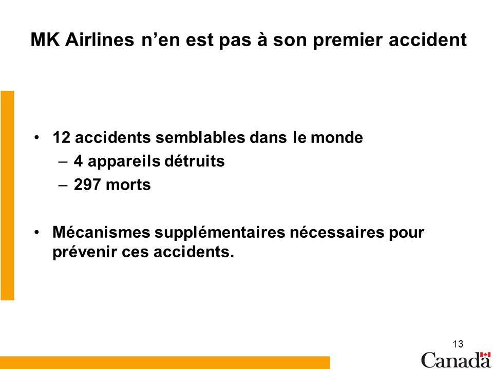 13 MK Airlines nen est pas à son premier accident 12 accidents semblables dans le monde –4 appareils détruits –297 morts Mécanismes supplémentaires nécessaires pour prévenir ces accidents.