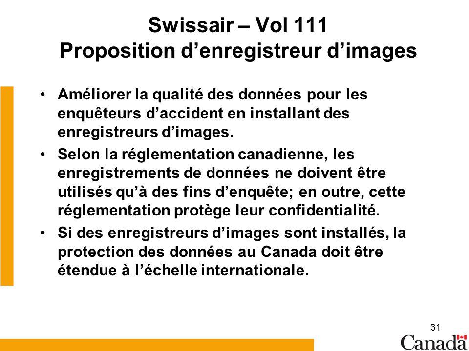 31 Swissair – Vol 111 Proposition denregistreur dimages Améliorer la qualité des données pour les enquêteurs daccident en installant des enregistreurs dimages.