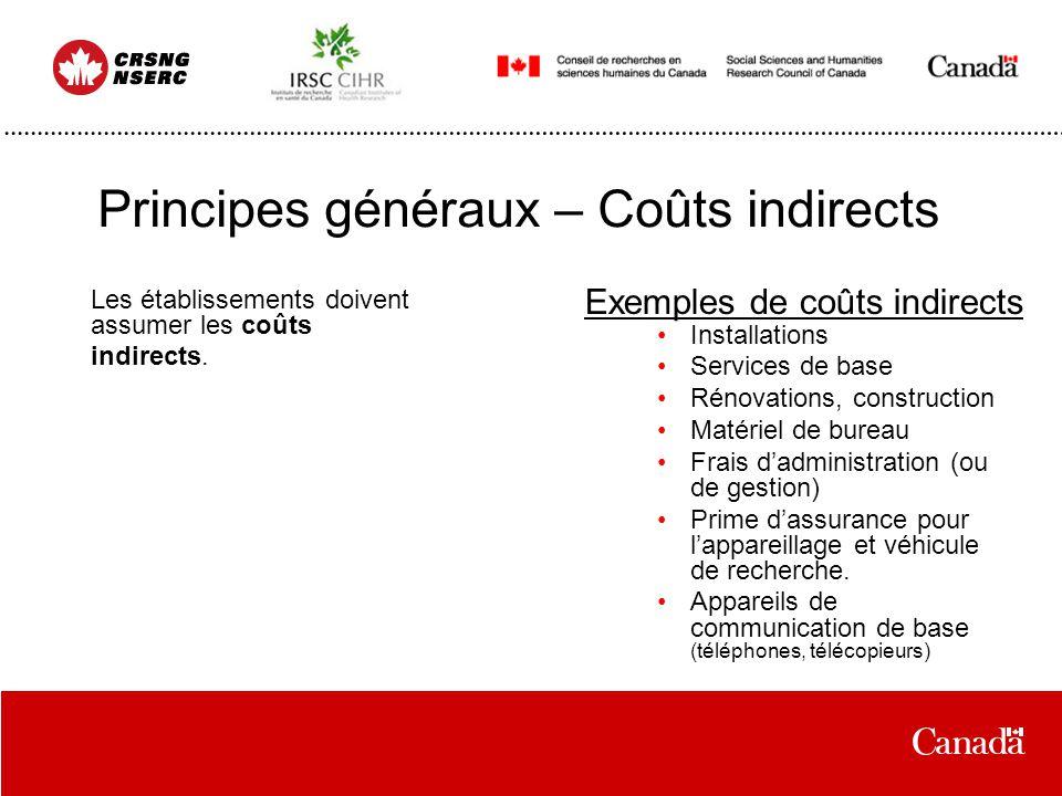 Principes généraux – Coûts indirects Les établissements doivent assumer les coûts indirects. Installations Services de base Rénovations, construction