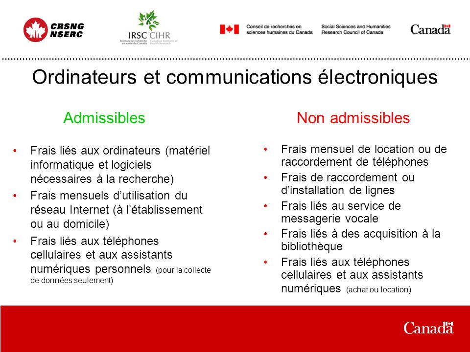 Ordinateurs et communications électroniques Frais liés aux ordinateurs (matériel informatique et logiciels nécessaires à la recherche) Frais mensuels