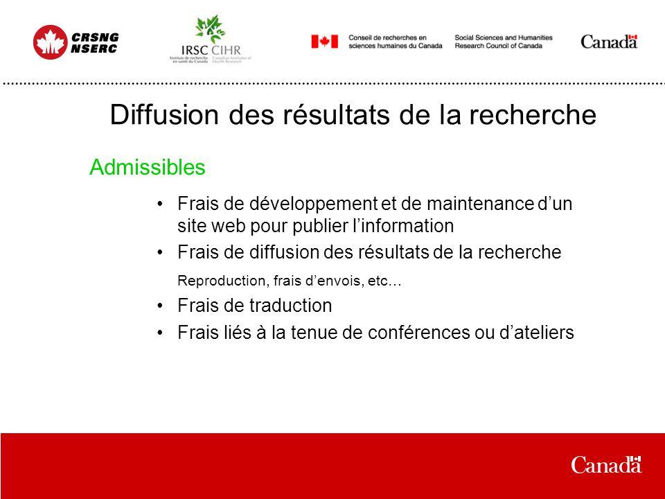 Diffusion des résultats de la recherche Frais de développement et de maintenance dun site web pour publier linformation Frais de diffusion des résulta