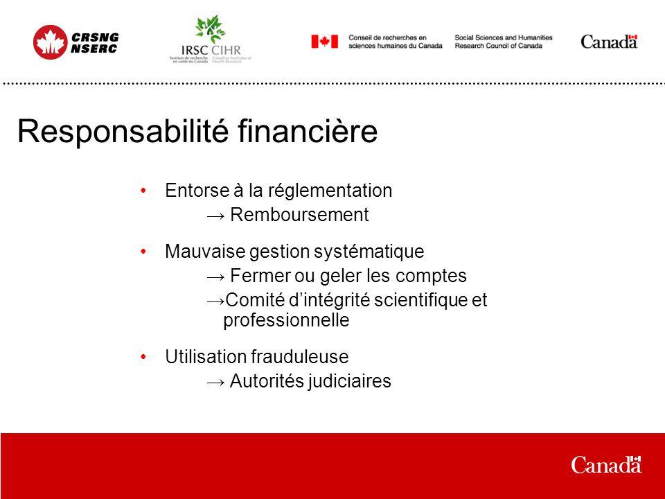 Responsabilité financière Entorse à la réglementation Remboursement Mauvaise gestion systématique Fermer ou geler les comptes Comité dintégrité scient