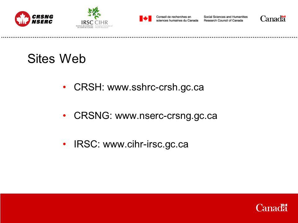 Sites Web CRSH: www.sshrc-crsh.gc.ca CRSNG: www.nserc-crsng.gc.ca IRSC: www.cihr-irsc.gc.ca