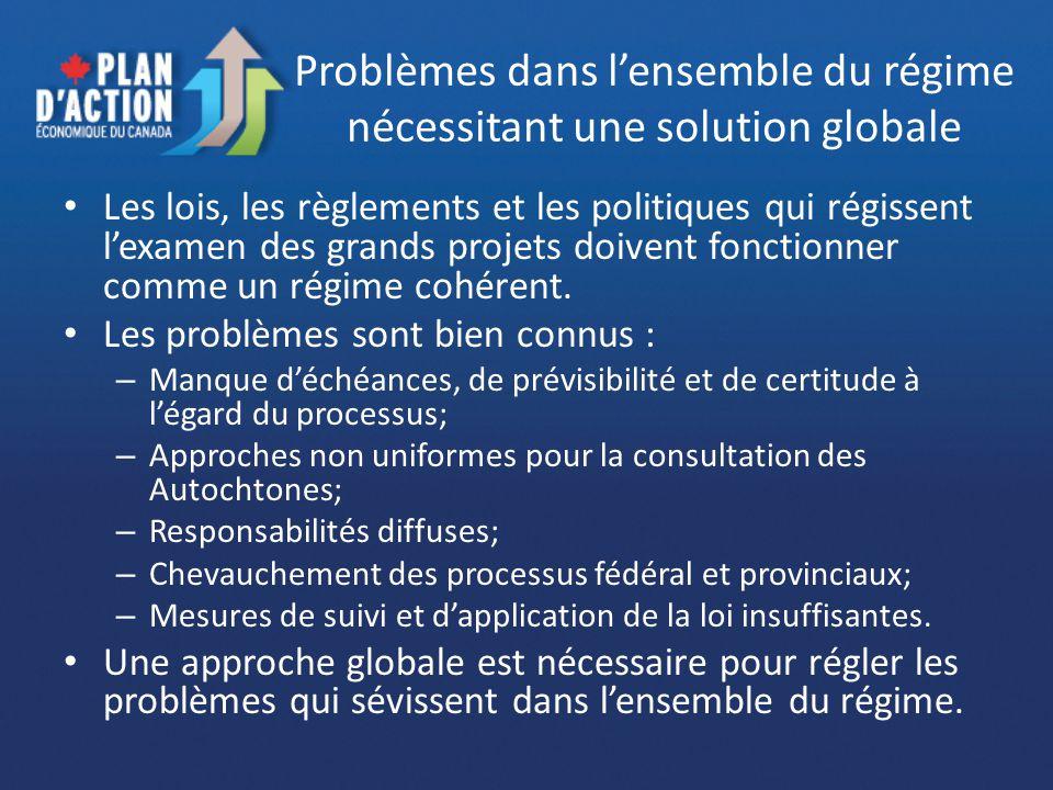 Problèmes dans lensemble du régime nécessitant une solution globale Les lois, les règlements et les politiques qui régissent lexamen des grands projets doivent fonctionner comme un régime cohérent.