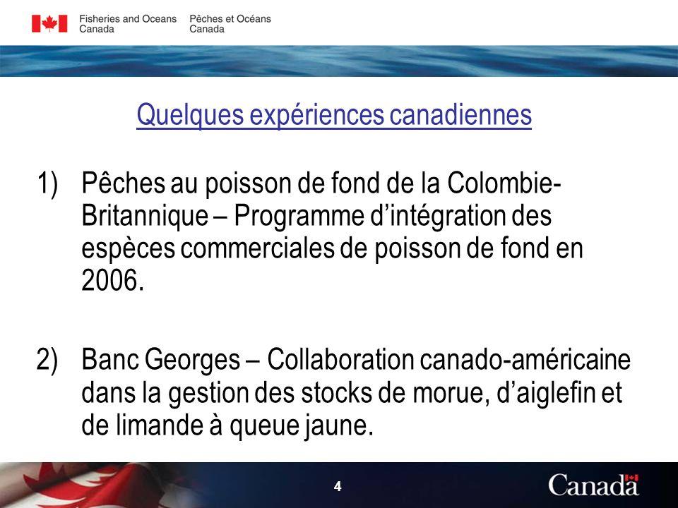4 Quelques expériences canadiennes 1)Pêches au poisson de fond de la Colombie Britannique – Programme dintégration des espèces commerciales de poisson de fond en 2006.