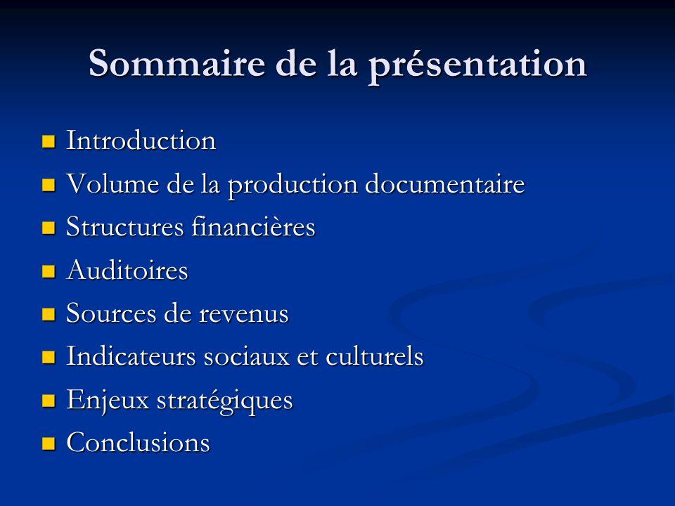 Conclusions La prolifération des chaînes spécialisées canadiennes qui diffusent des documentaires a stimulé la demande en émissions documentaires formatées pour la télévision.
