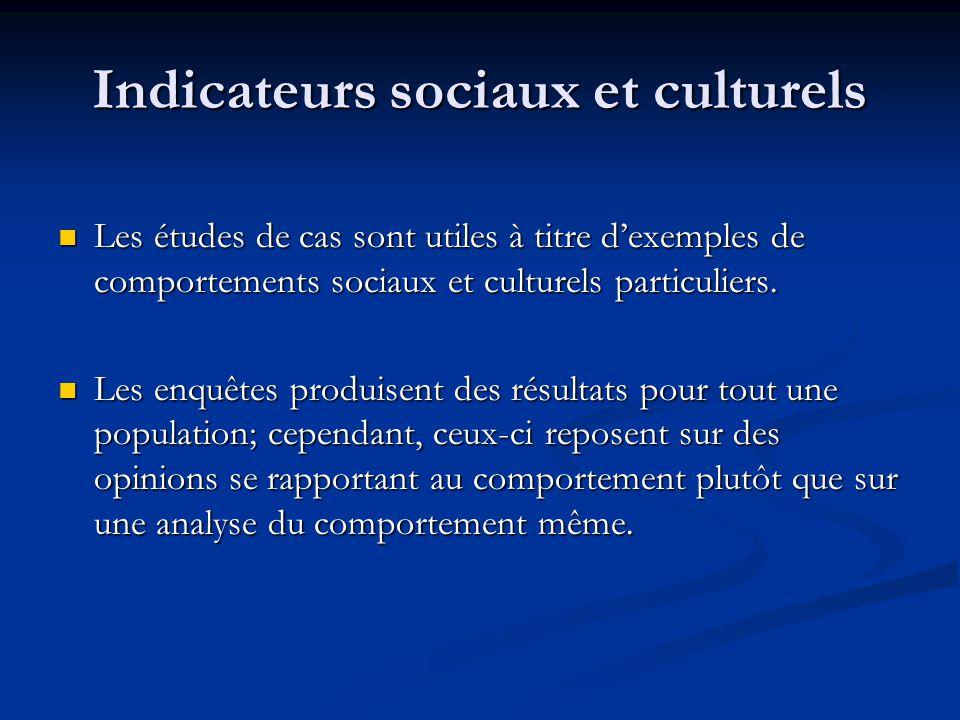 Indicateurs sociaux et culturels Les études de cas sont utiles à titre dexemples de comportements sociaux et culturels particuliers.