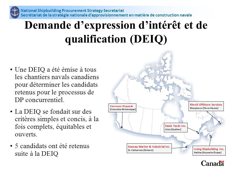 Vancouver Shipyards (Colombie-Britannique) Demande dexpression dintérêt et de qualification (DEIQ) Une DEIQ a été émise à tous les chantiers navals ca