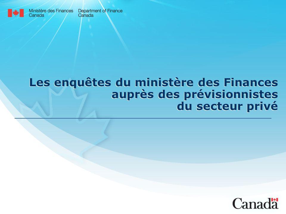 Les enquêtes du ministère des Finances auprès des prévisionnistes du secteur privé