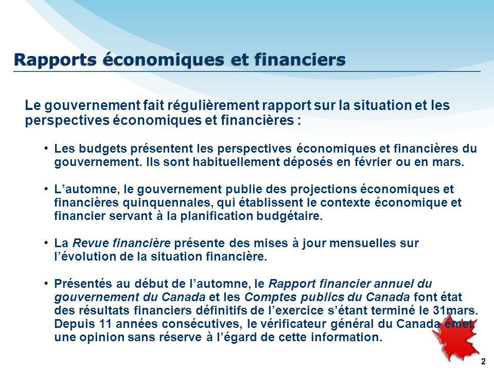 2 Rapports économiques et financiers Le gouvernement fait régulièrement rapport sur la situation et les perspectives économiques et financières : Les budgets présentent les perspectives économiques et financières du gouvernement.