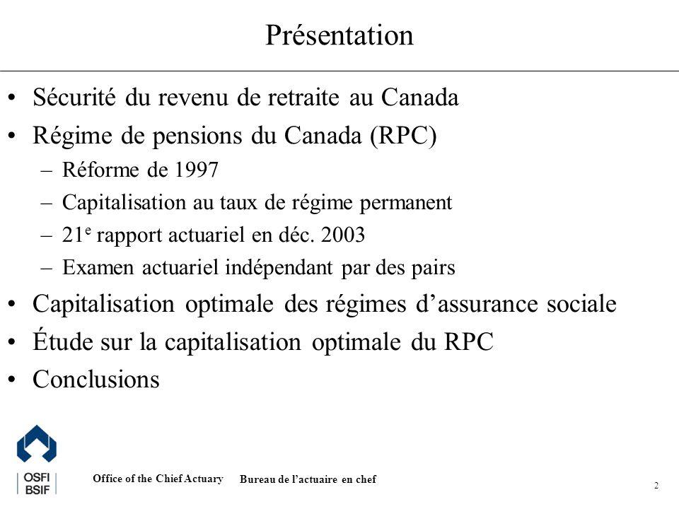 Office of the Chief Actuary Bureau de lactuaire en chef 2 Présentation Sécurité du revenu de retraite au Canada Régime de pensions du Canada (RPC) –Réforme de 1997 –Capitalisation au taux de régime permanent –21 e rapport actuariel en déc.