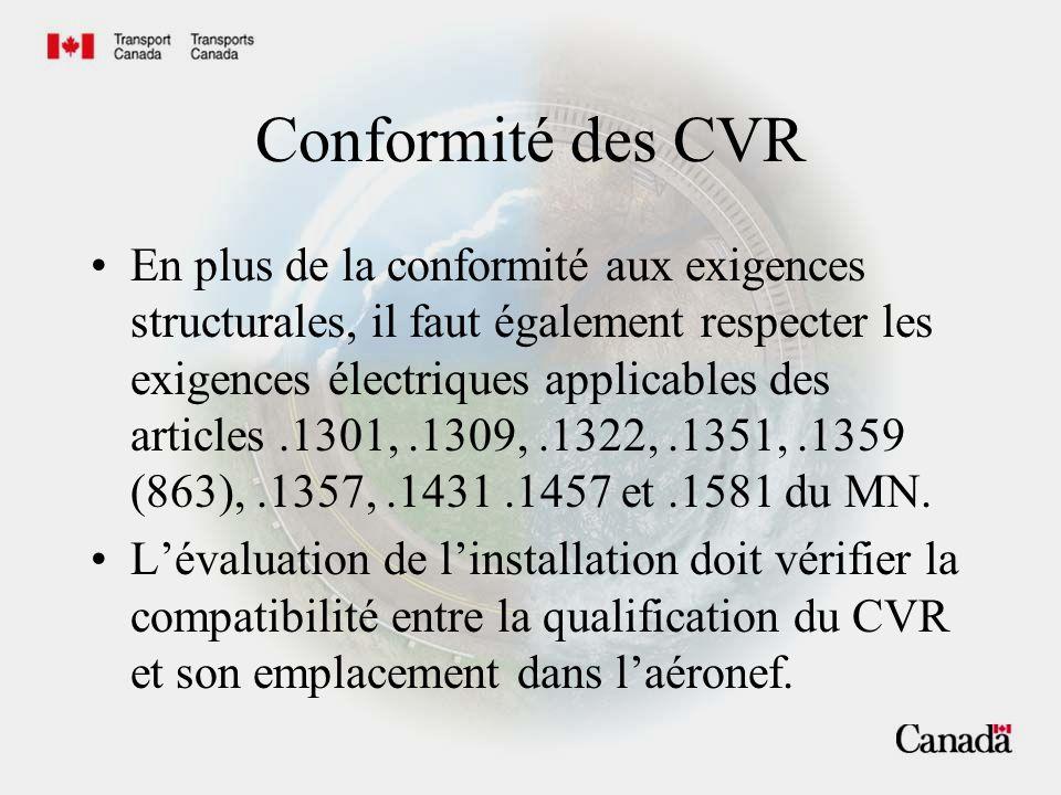 Exigences relatives aux CVR En outre, lévaluation de linstallation en regard de la conformité avec.1359(.863) est maintenue.