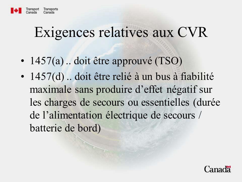 Conformité des CVR avec 1457 (d)(2)..cesser denregistrer dans les 10 minutes après limpact à l écrasement.