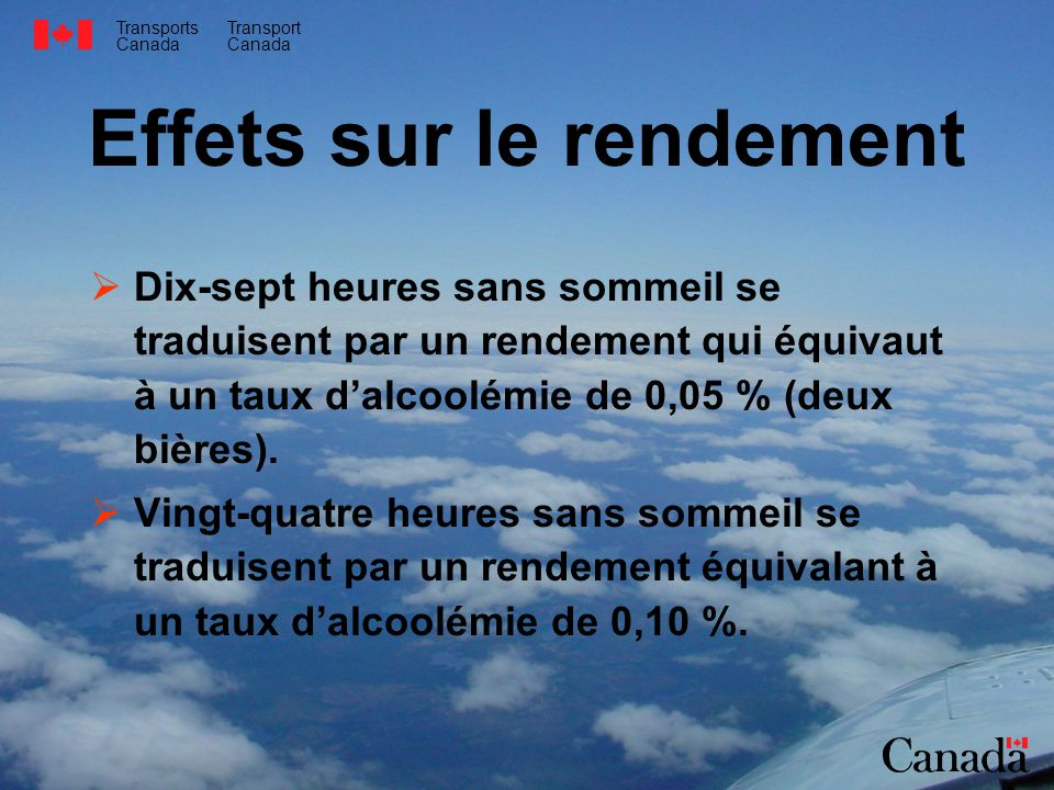 Transports Canada Transport Canada Effets sur le rendement Dix-sept heures sans sommeil se traduisent par un rendement qui équivaut à un taux dalcoolémie de 0,05 % (deux bières).