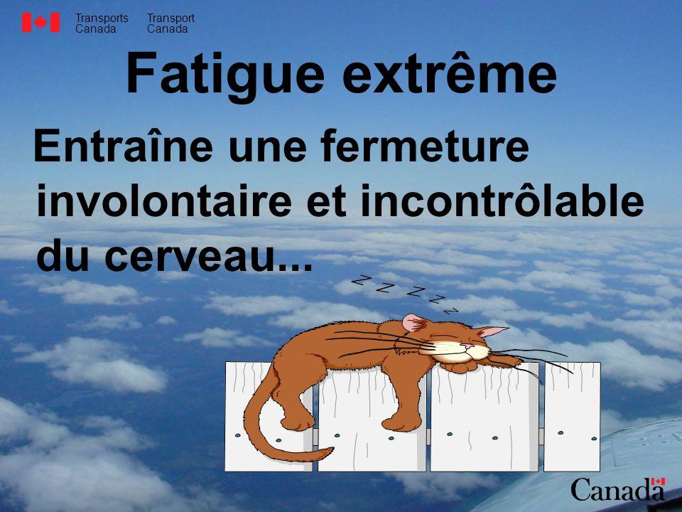 Transports Canada Transport Canada Fatigue extrême Entraîne une fermeture involontaire et incontrôlable du cerveau...