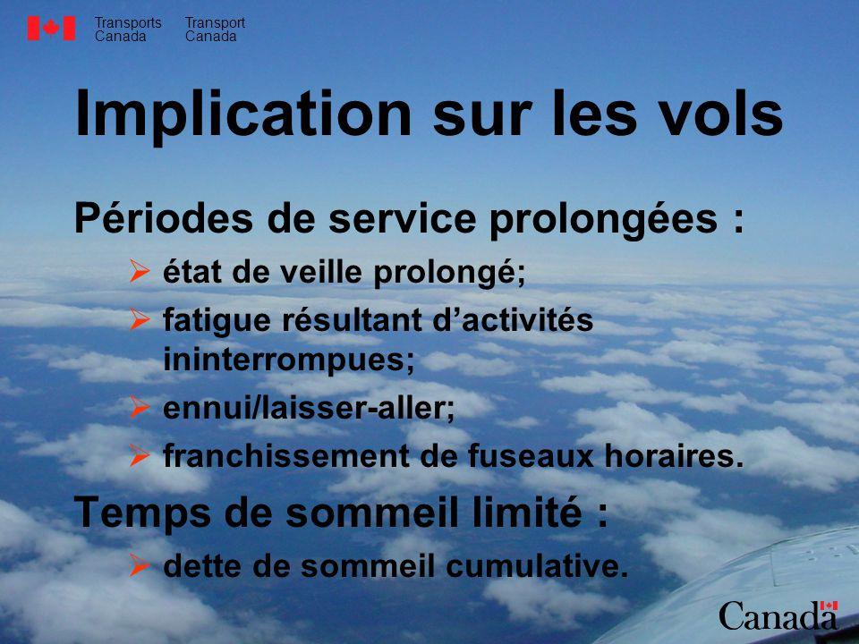 Transports Canada Transport Canada Implication sur les vols Périodes de service prolongées : état de veille prolongé; fatigue résultant dactivités ininterrompues; ennui/laisser-aller; franchissement de fuseaux horaires.