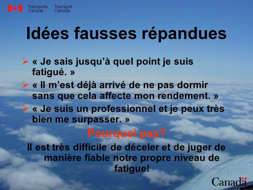 Transports Canada Transport Canada Idées fausses répandues « Je sais jusquà quel point je suis fatigué. » « Il mest déjà arrivé de ne pas dormir sans