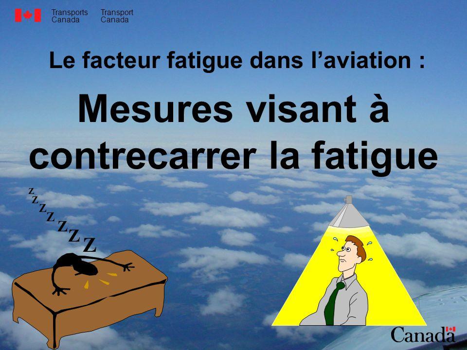 Transports Canada Transport Canada Le facteur fatigue dans laviation : Mesures visant à contrecarrer la fatigue Z Z Z Z Z Z Z