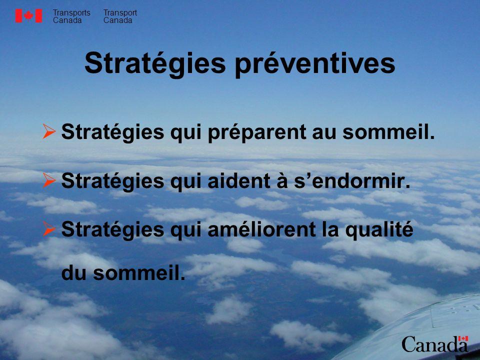 Transports Canada Transport Canada Stratégies préventives Stratégies qui préparent au sommeil. Stratégies qui aident à sendormir. Stratégies qui améli