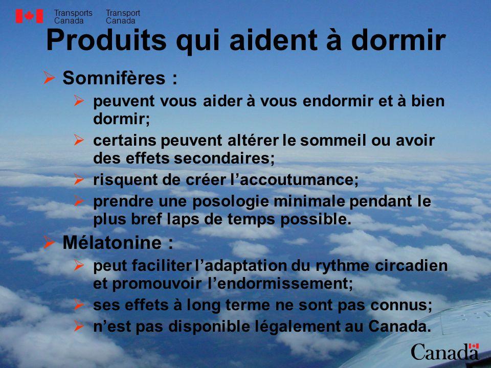 Transports Canada Transport Canada Produits qui aident à dormir Somnifères : peuvent vous aider à vous endormir et à bien dormir; certains peuvent alt