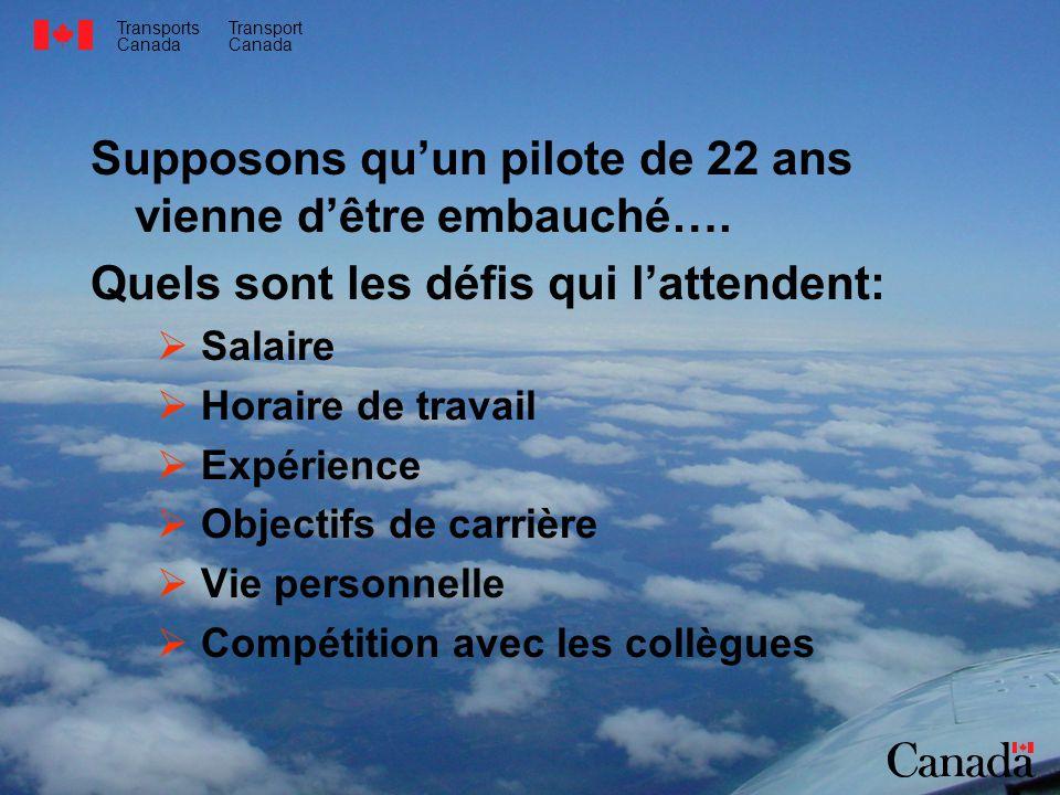 Transports Canada Transport Canada Supposons quun pilote de 22 ans vienne dêtre embauché….