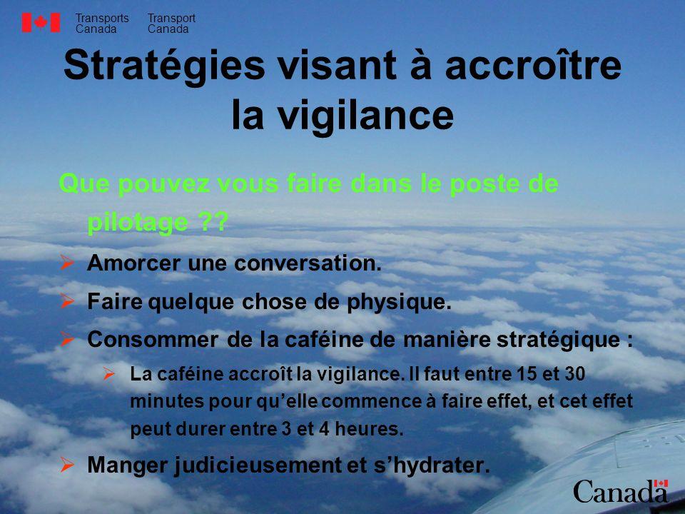 Transports Canada Transport Canada Stratégies visant à accroître la vigilance Que pouvez vous faire dans le poste de pilotage ?? Amorcer une conversat