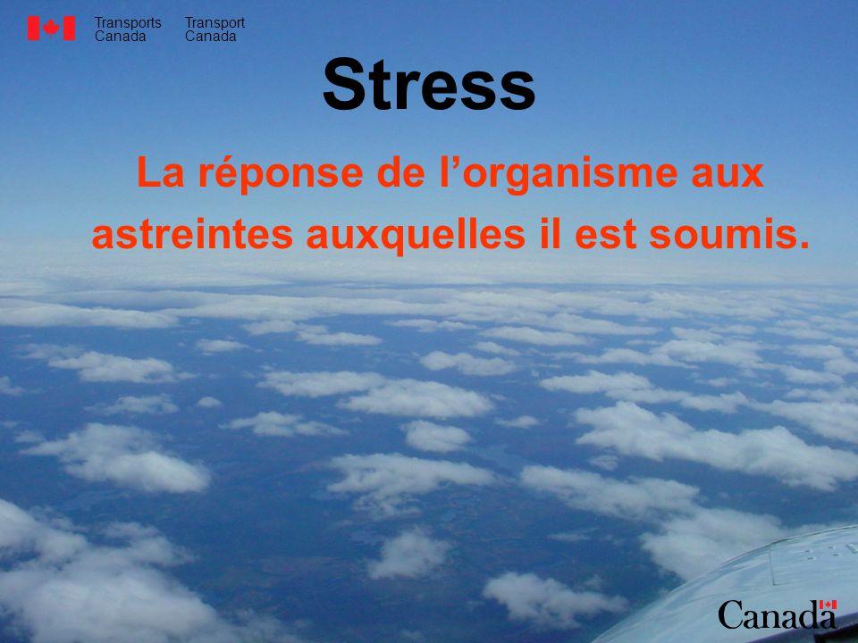 Transports Canada Transport Canada Stress La réponse de lorganisme aux astreintes auxquelles il est soumis.