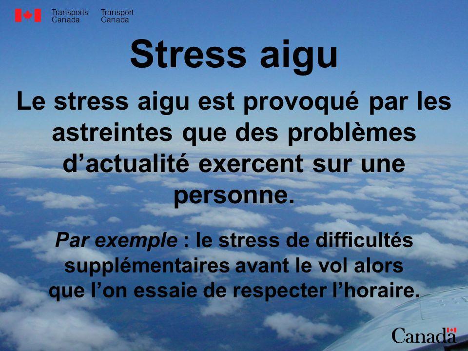 Transports Canada Transport Canada Stress aigu Le stress aigu est provoqué par les astreintes que des problèmes dactualité exercent sur une personne.