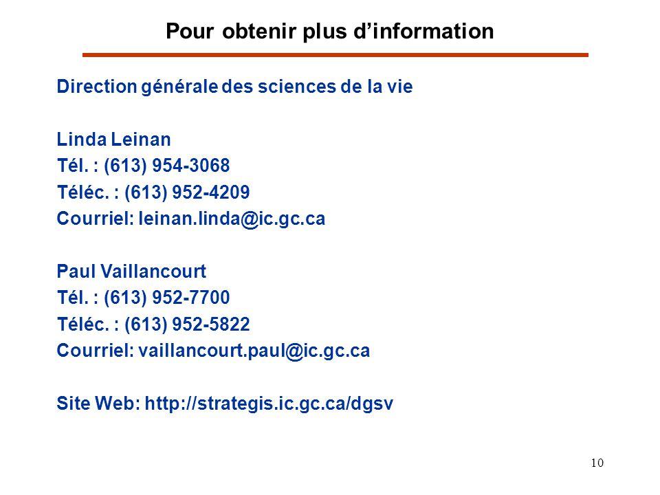 10 Pour obtenir plus dinformation Direction générale des sciences de la vie Linda Leinan Tél. : (613) 954-3068 Téléc. : (613) 952-4209 Courriel: leina